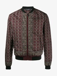Dolce And Gabbana Floral Pistol Print Bomber Jacket Ruby Black Denim