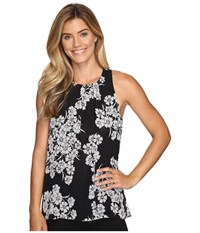 Vince Camuto Sleeveless Petal Cascade Blouse Rich Black Women's Blouse