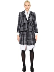 Thom Browne Frayed Plaid Wool Twill Jacket