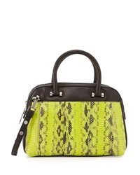 Milly Mercer Watersnake Combo Dome Satchel Bag Limeade