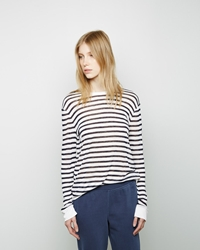 Alexander Wang Striped Rayon Linen Longsleeve Navy White