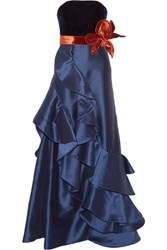 Johanna Ortiz Grace Kelly Ruffled Taffeta And Velvet Gown Navy
