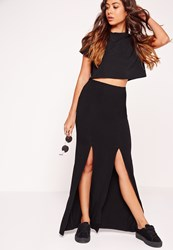 Missguided Double Front Split Maxi Skirt Black Black