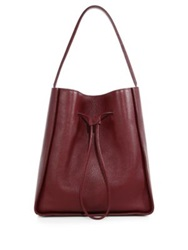 3.1 Phillip Lim Soleil Large Leather Drawstring Hobo Bag Burgundy Chestnut Black