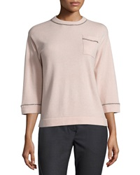 Brunello Cucinelli 2 Ply Cashmere Fitted Pullover Sweater Vintage Rose