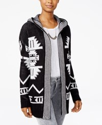 Hippie Rose Juniors' Hooded Aztec Cardigan Black Ivory Combo