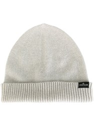 Stone Island Ribbed Knitted Beanie Nude And Neutrals