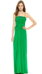 Thakoon Lace Front Camisole Gown Kelly Green