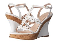 Oscar De La Renta Jumma Platform White Vacchetta Women's Wedge Shoes