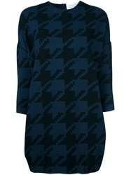 Gianluca Capannolo Houndstooth Shift Dress Blue