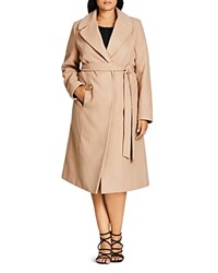 City Chic Longline Wrap Coat Caramel