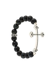 King Baby Studio Beaded Cross Bracelet Black
