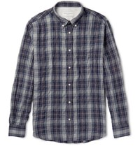 Officine Generale Slim Fit Plaid Cotton Blend Shirt Navy