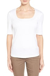 Women's Lafayette 148 New York Swiss Cotton Rib Square Neck Tee White