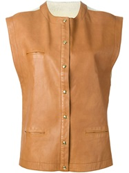 Roberta Di Camerino Vintage Leather Panel Waistcoat Nude And Neutrals