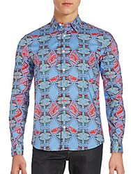 Melindagloss Abstract Patterned Cotton Sportshirt Blue