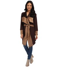Mod O Doc Fleece Velour Two Tone Oversized Collar Tie Front Coat Cocoa Women's Coat Brown