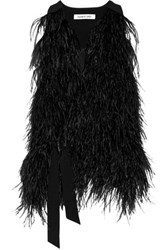 Elizabeth And James Xiomara Feather Embellished Crepe Vest Black