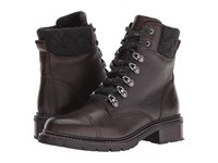 Frye Samantha Hiker Dark Brown Waterproof Waxed Pebbled Leather Quilted Wool Women's Lace Up Boots