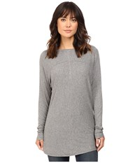 Heather Long Sleeve Drape Front Panel Back Top Light Grey Women's Clothing Silver