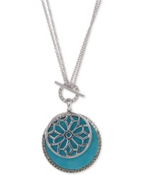 Judith Jack Silver Tone Turquoise And Crystal Pendant Necklace