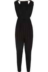 Lanvin Chain Trimmed Stretch Satin Jersey Jumpsuit Black