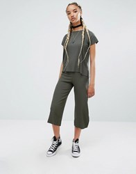 Pull And Bear Pullandbear Rib Tee Co Ord In Khaki Khaki Green