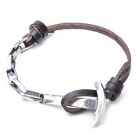 Anchor And Crew Dark Brown Brig Leather Silver Bracelet