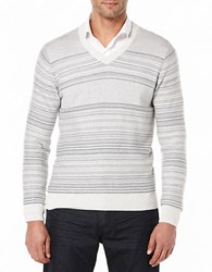 Perry Ellis Striped V Neck Sweater Port