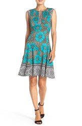 Maggy London Petite Women's Floral Scuba Fit And Flare Dress Soft White Blue