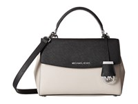 Michael Michael Kors Ava Small Top Handle Satchel Cement Black Satchel Handbags Bone