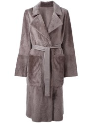 Yves Salomon Belted Mid Coat Grey