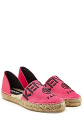 Kenzo Embroidered Cotton Espadrilles Pink