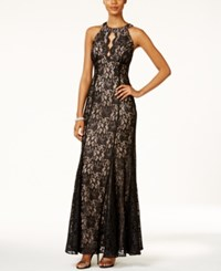 Nightway Petite Lace Keyhole Halter Gown Black Nude