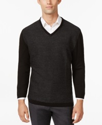 Ryan Seacrest Distinction Ryan Seacrest Felted Houndstooth V Neck Sweater Only At Macy's Black