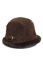 Eric Javits Women's Vail Water Repellent Suede Cloche With Faux Fur Lining Brown Brown Brown