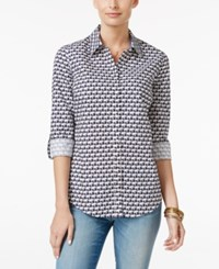 Charter Club Elephant Print Shirt Only At Macy's Intrepid Blue