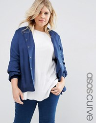 Asos Curve Soft Luxe Bomber With Rib Trim Blue Navy