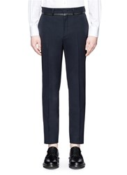 Mcq By Alexander Mcqueen Leather Trim Tuxedo Pants Blue
