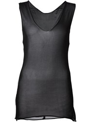 Isabel Benenato Sheer V Neck Tank Black