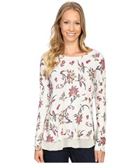 Lucky Brand Floral Printed Pullover Sweater Grey Multi Women's Sweater Gray