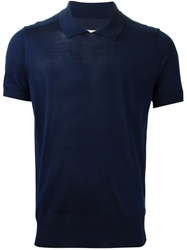 Maison Margiela Fine Knit Polo Shirt Blue