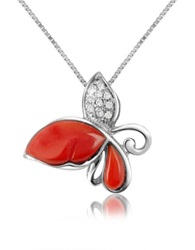 Del Gatto Diamond Gemstone Butterfly 18K Gold Pendant Necklace Red Coral