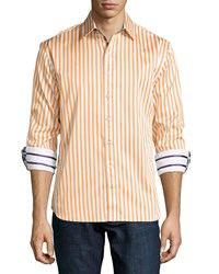 Robert Graham Mr. Balik Bengal Stripe Sport Shirt Orange White