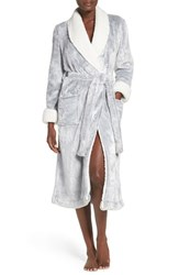 Nordstrom Women's Lingerie Frosted Plush Robe Grey