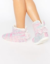 Totes Cable Knit Space Dye Bootie Slippers Pink Cream