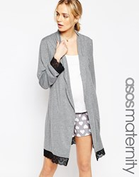Asos Maternity Lace Trim Jersey Robe Grey