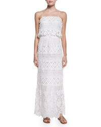 Miguelina Rylan Geometric Print Crochet Maxi Dress White