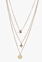 Boohoo Pendant Layered Necklace Gold