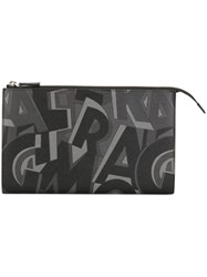 Salvatore Ferragamo Printed Clutch Black